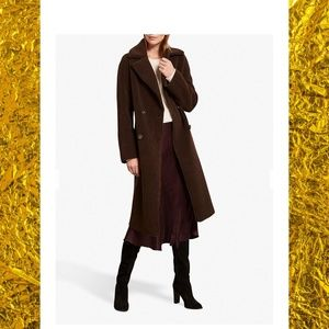 Mint Velvet Long Teddy Coat in Dark Brown
